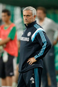 BUDAPEST, HUNGARY - AUGUST 10, 2014: Jose Mourinho, manager of Chelsea during Ferencvaros vs. Chelsea stadium opening football match at Groupama Arena on August 10, 2014 in Budapest, Hungary.