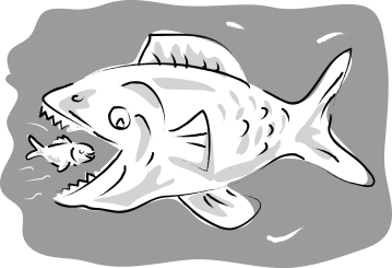 cartoon illustration of a small fish swimming happily inside the mouth of big fish